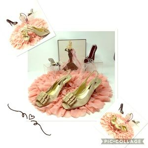 👠 Nina Laraine Gold Peep-Toe, Sling-Back Heels 👠